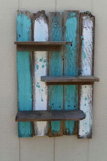 Rustic Pallet Wall Shelves