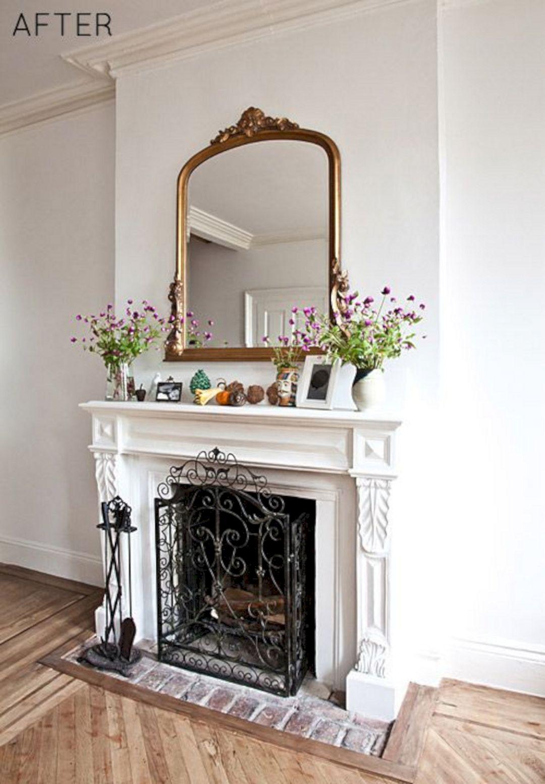 Brick Vintage Fireplace With Mirror (Brick Vintage