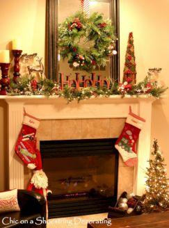Fireplace Mantel Christmas Design Ideas