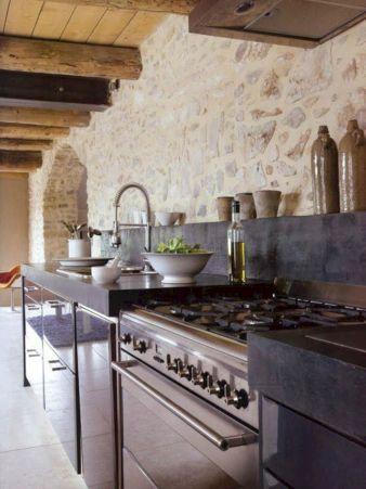 Kitchen Rustic Stone Wall