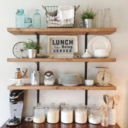 Open Kitchen Shelves Decorating Idea