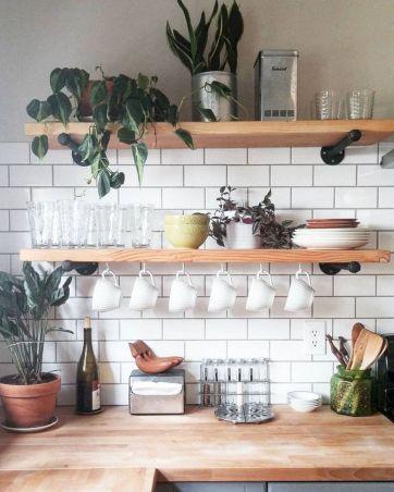 Open Shelf Kitchen White Subway Tile