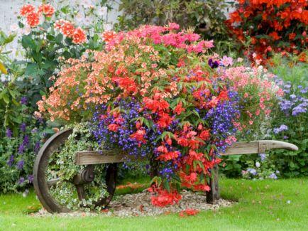 Wheelbarrow Flower Garden