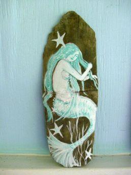 Wood Mermaid Wall Decor