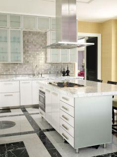 Contemporary White Kitchen Backsplash 16