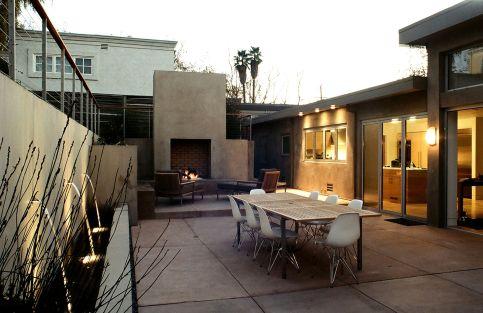 Mid Century Modern Outdoor Fireplace 18