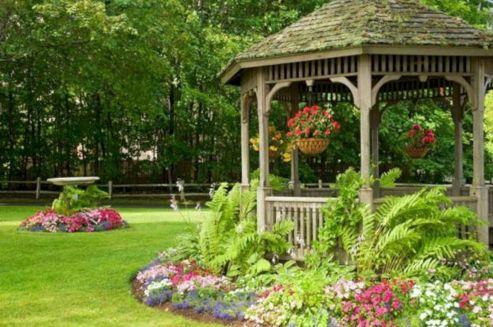 Backyard Flower Garden With Gazebo 3