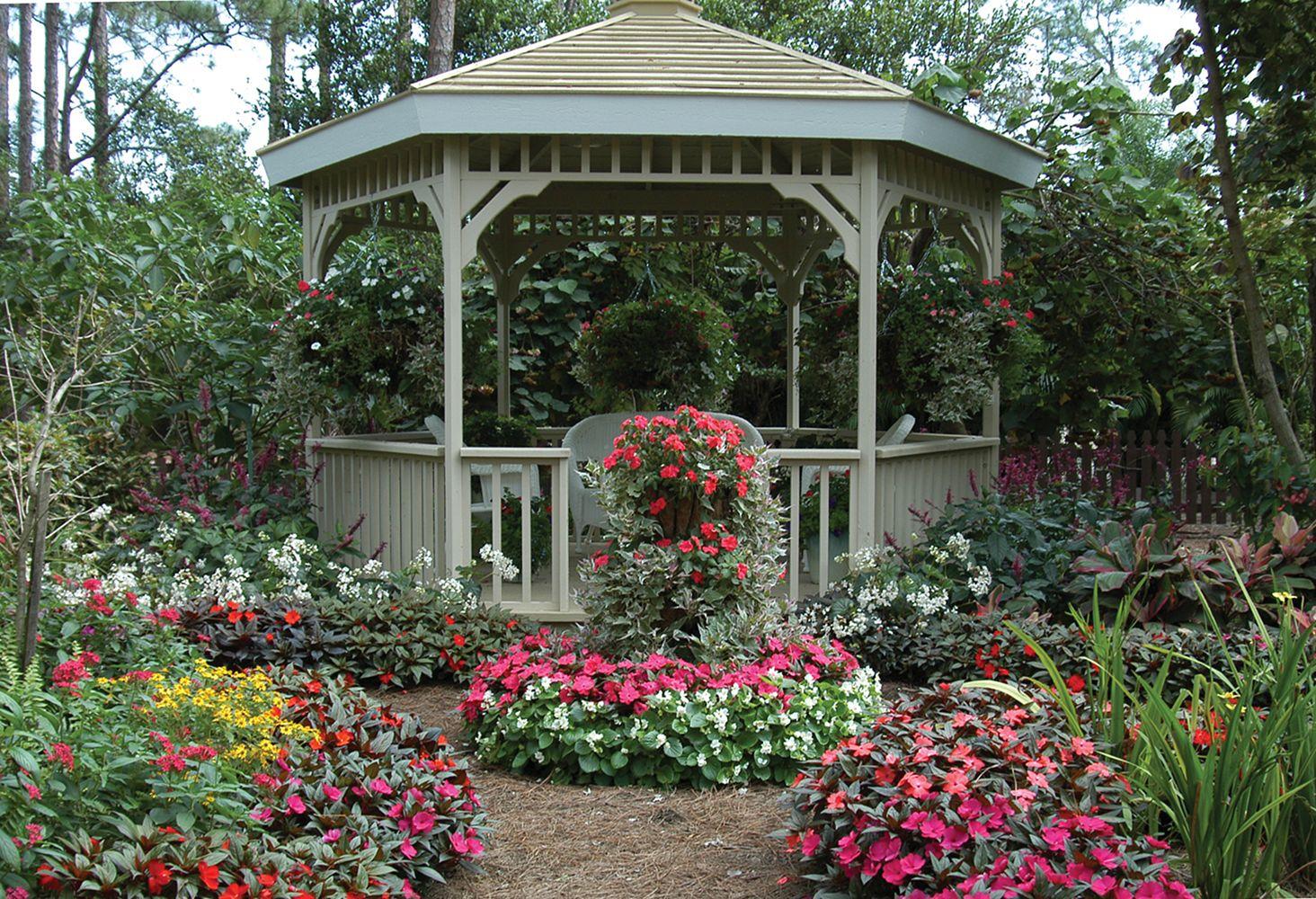 Backyard Flower Garden With Gazebo 8