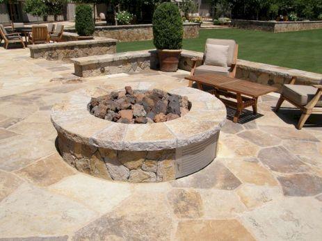 Backyard Patio With Stone Firepit 24