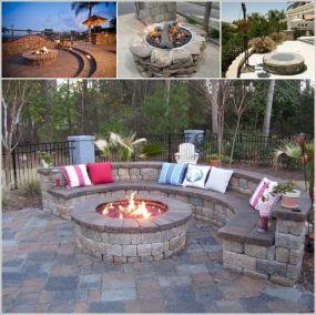 Backyard Patio With Stone Firepit 27