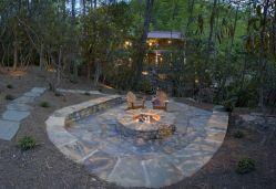 Backyard Patio With Stone Firepit 4
