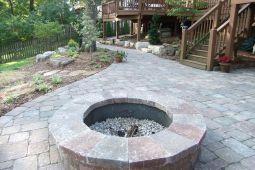 Backyard Patio With Stone Firepit 5