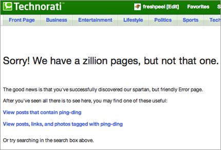Technorati 404 Page