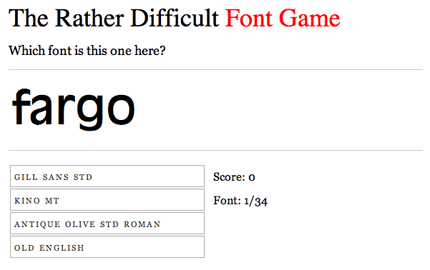 The Rather Difficult Font Game