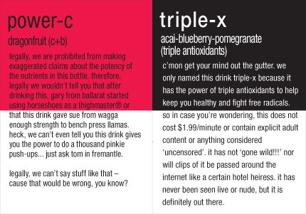 Vitamin Water Label Power-c Triple-x