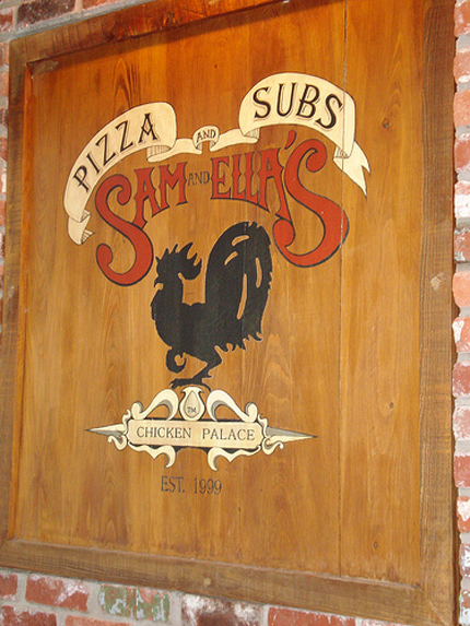 Sam and Ellas Sign, Chicken Palace, Pizza and Subs