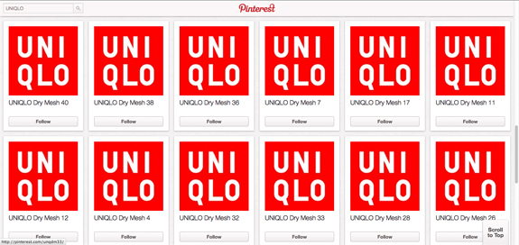 UNIQLO Pinterest Accounts