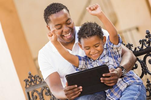 Father Son Technology Tablet