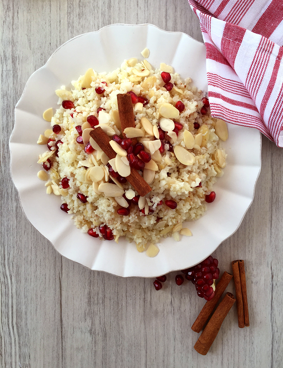 Scheherazade's Cauliflower with Pomegranate, Almonds and Cinnamon | Fresh Planet Flavor
