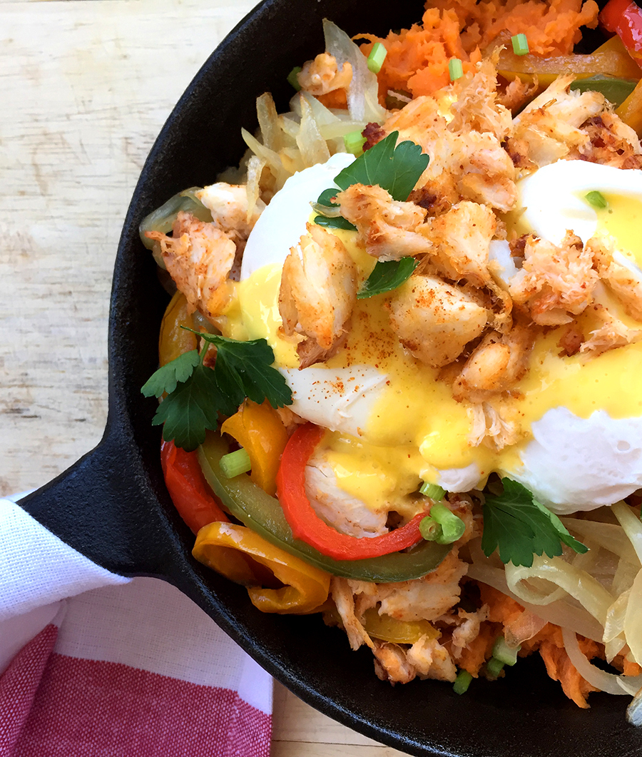 Cheesecake Factory Crab Hash (sweet potato, onions, bell peppers, crab, eggs, Hollandaise sauce) | Fresh Planet Flavor