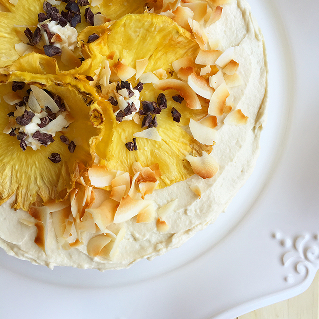 This Dreamboat Pineapple Coconut Cake is a slice of tropical paradise on a plate! | GrokGrub.com #grainfree #nutfree #healthy #paleo #cake