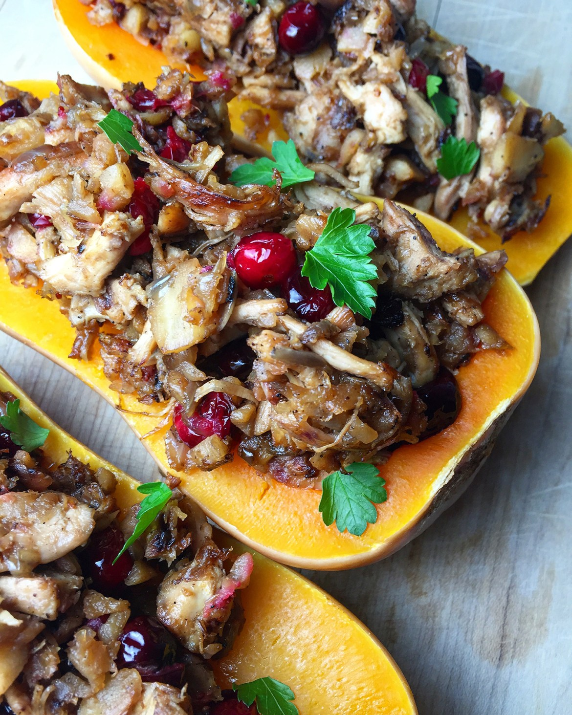 Cranberry Chicken Stuffed Squash: warmly savory shredded chicken, the subtle sweetness parsnips, and tart pop of cranberries makes this a great dish for the holiday season! Fresh Planet Flavor