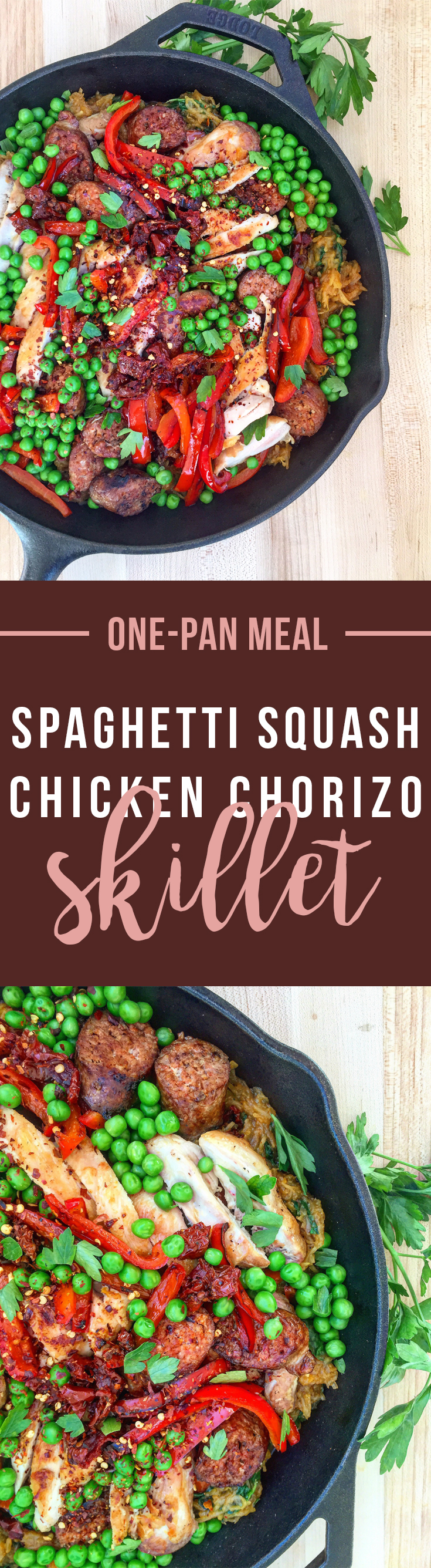 One Pan Meal: this Spaghetti Squash Chicken Chorizo Skillet keeps the mess and fuss to a minimum while delivering max flavor. Click to read the recipe or pin to save for later! | GrokGrub.com #onepanmeal #skilletcooking #paleo #healthy