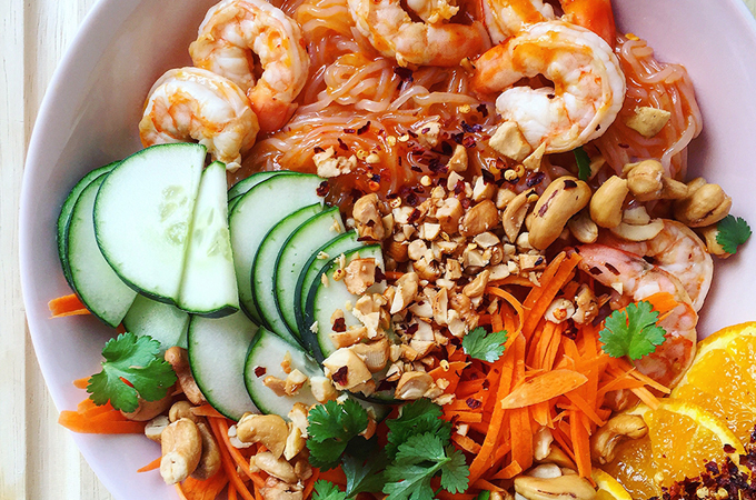 The light and refreshing Spicy Citrus Shrimp Noodle Bowl pairs a sweet-spicy sauce with crisp fresh vegetables. Get the recipe at freshplanetflavor.com!