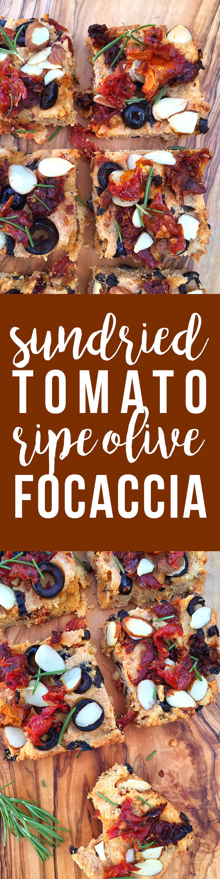 Sun-Dried Tomato Ripe Olive Focaccia (grain-free, dairy-free, paleo)