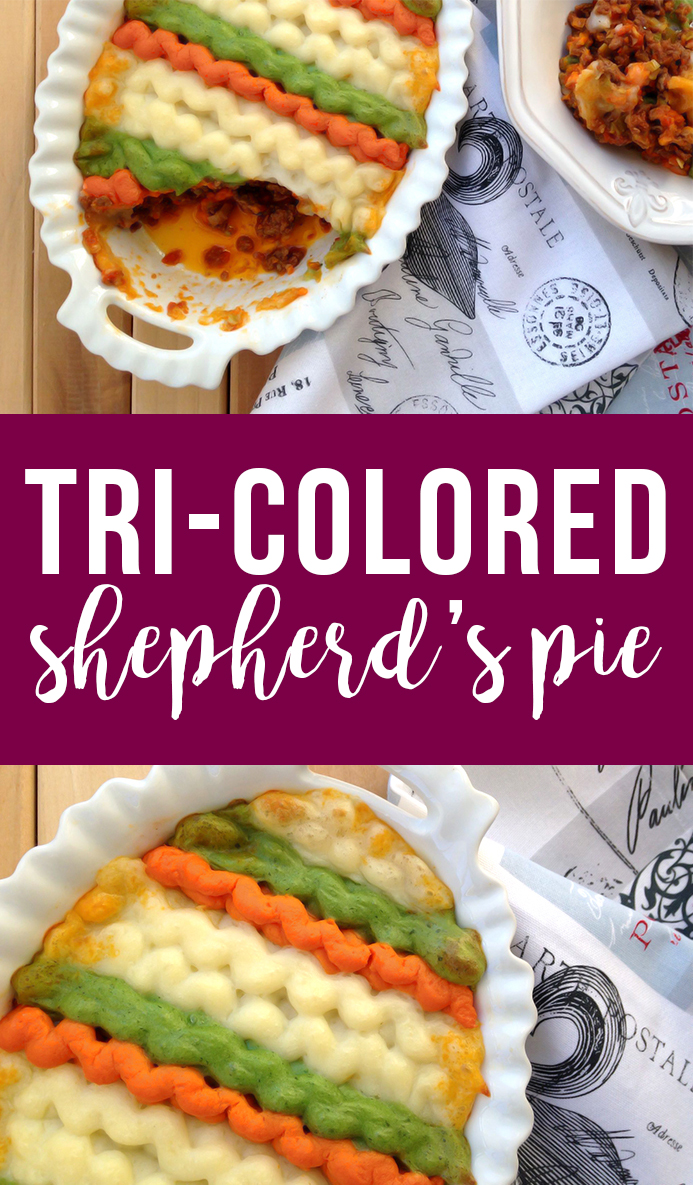 Tri-Colored Paleo Shepherd's Pie (French version of shepherd's pie)