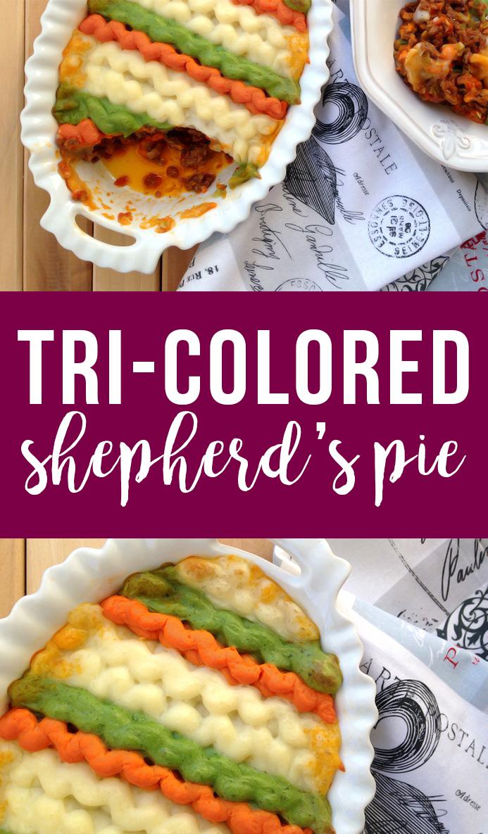 Tri-Colored Paleo Shepherd's Pie (French version of shepherd's pie)