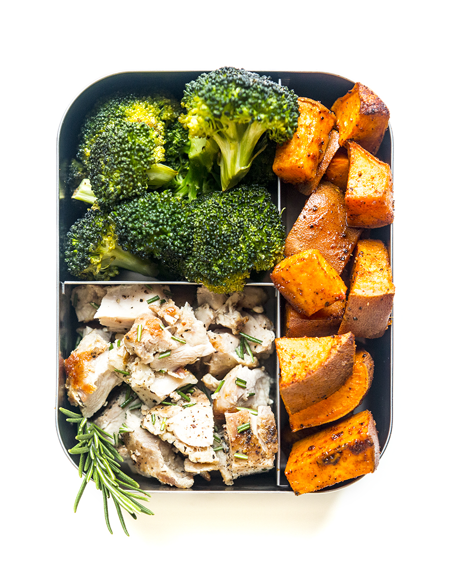 Rosemary Chicken with Broccoli and Harissa Sweet Potatoes