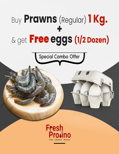 Combo Pack of Regular Prawns 1Kg with 1/2 Dozon eggs Free