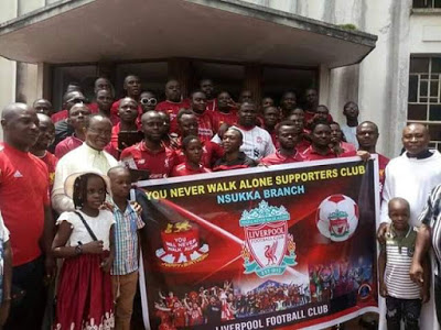 Photos of Liverpool fans, Nsukka branch go for thanksgiving in Church after historic Champions League win