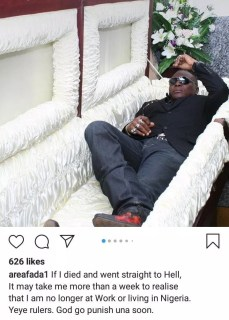 """""""if I Died And Went To Hell, It'll Take Me A While To Realize I'm No Longer In Nigeria"""" - Charley Boy"""
