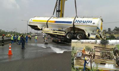 Tanker Fell off Otedola Bridge