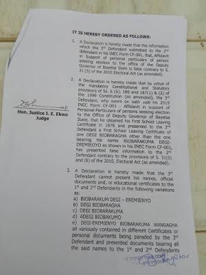 #BayelsaElection: Court Disqualifies APC Governorship Candidate, Lyon