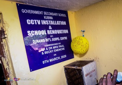 Dunamis Constructs Road, Renovates And Installs CCTV In 32 Classrooms In Kubwa