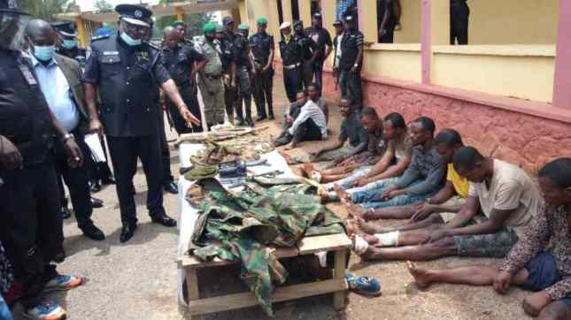 Police Parade 7 Fake Soldiers Over Armed Robbery In Ogun State