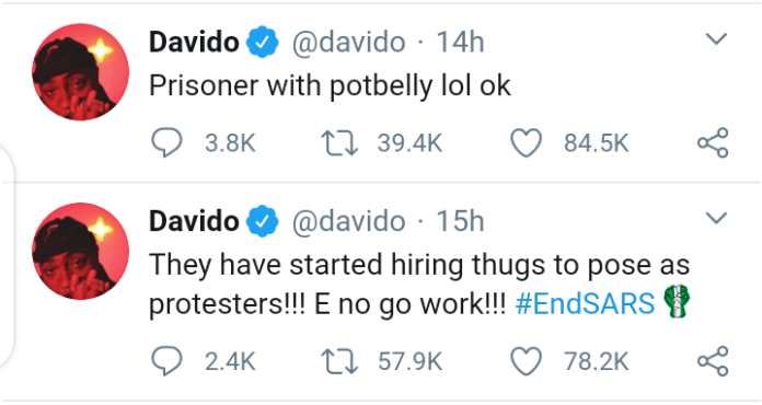 "#EndSars: Davido Raises Alarm - ""The People That Broke Into The Prison Are Criminals, Not Part Of Our Cause"""