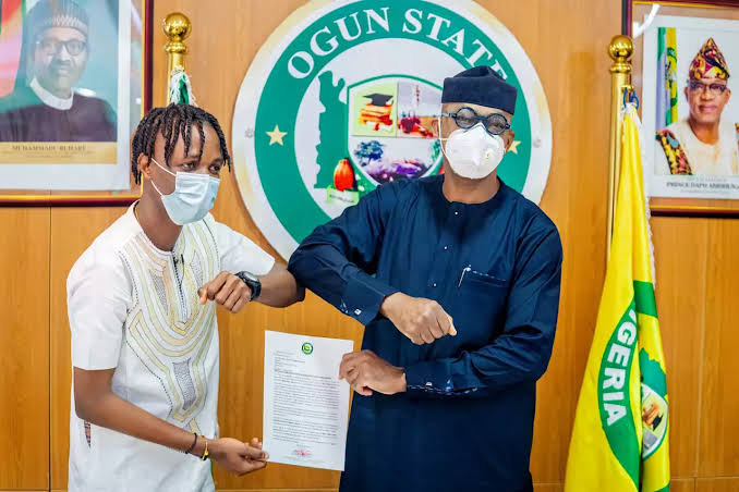 Governor Abiodun Appoints Laycon As Youth Ambassador, Gives Him Bungalow & N5m