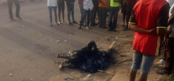 Motorcycle Thief Set Ablaze By Angry Mob In Benue