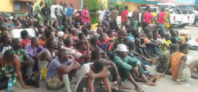 Police Raid Lagos Black Spots, Arrest 720 Suspects, Recover Arms (Photos)