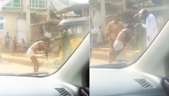Soldier Strips Lady Unclad, Beat Her Mercilessly For Dressing Indecently (Video)