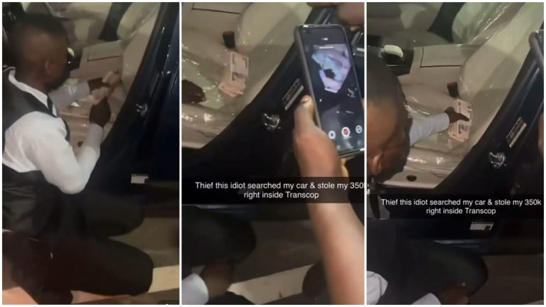 Steward Caught While Trying To Steal Wads Of Naira From A Female Guest's Car (Video)