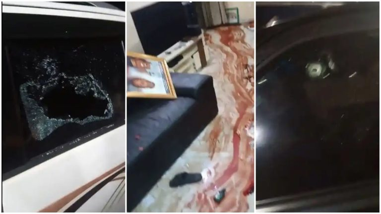 Blood Stains, Others Whisked Away As Gunmen Attack Sunday Igboho's House (Photos)