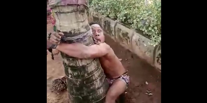 Two Boys Tied, Beaten & Flogged On The Street Of Okija For Homos*xuality (Photos)