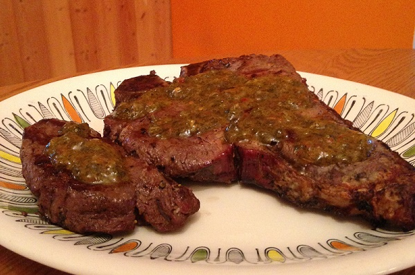 Grassfed Grilled Steak with Argentinian-style Chimichurri Sauce