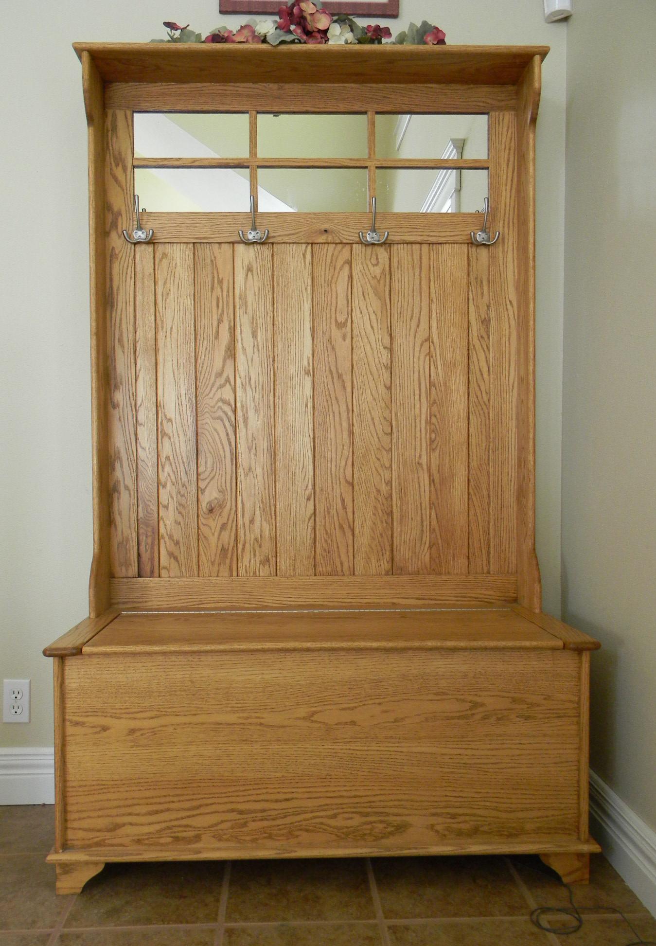 entryway storage bench with coat rack