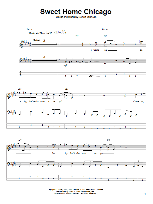 This version is from the complete clapton album. Robert Johnson Sweet Home Chicago Sheet Music Pdf Notes Chords Pop Score Bass Guitar Tab Download Printable Sku 57273